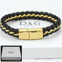 "DG Men's Stainless Steel 8.5"" Black Braided Leather Magnetic.Bracelet*Unisex.BOX"