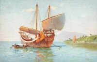 Postcard Chinese Junk at Hong Kong