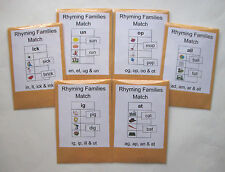 6 Teacher Made Literacy Centers Learning Resource Games Rhyming Families Match