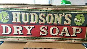 "Original Vintage ""Hudson's Dry Soap"" Wooden & Card Retail Display Box 40cm L"