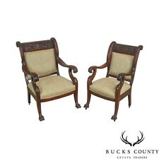 Victorian Renaissance Carved Mahogany Pair of His & Hers Arm Chairs