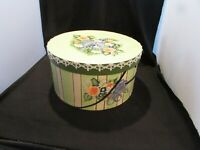 """Vintage Hand Painted Satin Lined Hat Box 13"""" By 7"""" Tall"""