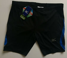 Mizuno Women's Shorts - Mid leg Tight - Black and Victory Blue - XX Large