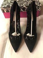 Diane Von Furstenberg Bianca Heels High Black 4.5 Inch Suede Mesh UK Size 8