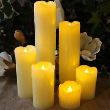 Set Of 6 Candle Lights LED Flicker Smokeless Fake Wax Pillar Candles Tea Lights