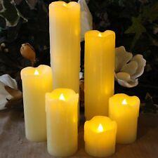 Set Of 6 Candle Lights LED Flicker Smokeless Fake Wax Pillar Candles Tea Lights