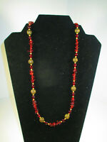 Vintage Red Gemstone Chip and Bead Necklace with Filigree Accent Beads