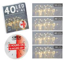 LED Micro Draht silber Lichterkette warmweiß biegsam Batteriebetrieb Timer 6/18h