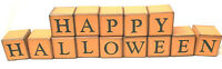 Vintage Happy Halloween Wooden Blocks Message