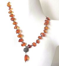 """VINTAGE CHINESE AMBER STERLING DOUBLE HAPPINESS SIGNED ADJ NECKLACE 16"""" 18"""" 20"""""""