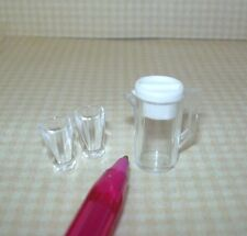 Miniature Modern Plastic Pitcher (Lid Removes!) w/2 Glasses: DOLLHOUSE 1/12
