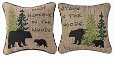 """PILLOWS - """"WHAT HAPPENS IN THE WOODS"""" REVERSIBLE TAPESTRY PILLOW - 12.5"""" SQUARE"""