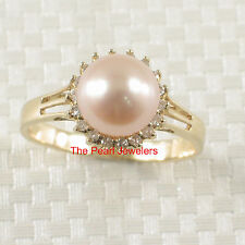 TPJ 14k Solid Yellow Gold 8-8.5mm Pink Cultured Pearl; Diamonds Cocktail Ring