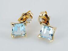 14K Corte Princesa 1 Quilate Aguamarina Pendientes de Botón con Diamante