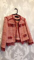 Zara Ladies Red Metallic Frayed Boucle Tweed Fantasy Jacket Size S