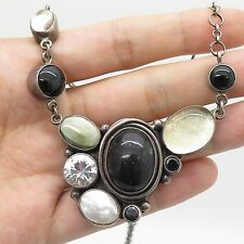 "Acho Vtg 925 Sterling Silver Real Gemstone MOP Modernist Pendant Necklace 20"""