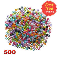 Pony Beads Plastic Assorted Colours Barrel Mixed Craft Hair Braiding 500 8mm