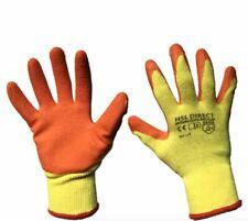 12 Pairs  HSL Direct - Rubber Latex Coat Gripper Safety Builder Gardening GLOVES