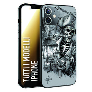 Custodia Cover Morbida nera INKOVER per iPhone pirati pirates teschio scheletro