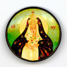 Russian Handpainted Brooches of Religous Saints_brooch_04, Mary