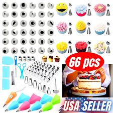 66 pcs Baking Supplies Kit DIY Cake Cupcake Decorating Icing tips Set Tools New