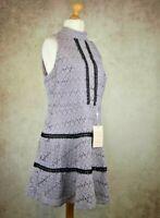 BNWT River Island Purple Crochet Lace Dress Size UK 18 Open Back Lined rrp £80