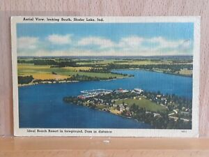 Linen post card view of Shafer Lake near Monticello, Indiana