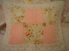 Chic Shabby pink vintage chenille Venice lace pink roses Hand M Custom  pillow
