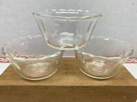 Vintage set of 3 Fire-King 6 oz Clear Glass #424 Custard Dessert Cups Scalloped