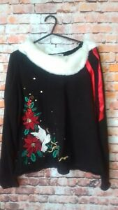 heirloom christmas black jumper size m armpit to armpit 18.5 inches lengh 24