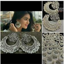 US Indian Bollywood Antique Silver Tone Earring Chand Bali Jhumki Pearl Fashion