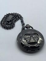 Darth Vader Black Quartz Pocket Watch WORKING