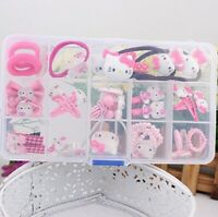 NiceGo Pink Hair Bows Clips for Girls – Hello Kitty Ribbon 15 Pieces in one box