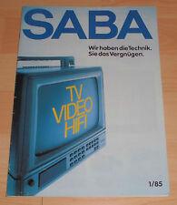 Soffitta Fund ORIG CATALOGO prospetto QUADERNO 1/85 SABA TV VIDEO HI-FI con tecnica dati.