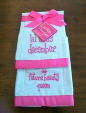 "Mud Pie Infant Girls ""Lil Miss December"" Burp Cloth Set, NWT, Set of 2"