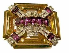 "MCCLELLAND BARCLAY AMETHYST & CLEAR STONES GOLD TONE SIGNED BROOCH PIN, 2""x1.75"""