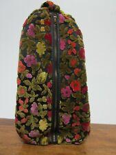 New listing Vintage 60s-70s Ladies Velour Shoe Tote Bag Black with Multi-colors