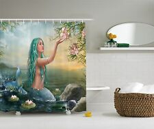 Enchanted Floral Mermaid in Ocean Beach Artwork Scene Fabric Shower Curtain