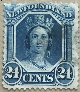 Newfoundland Stamp Scott #31 - 1865-94 Blue 24 cent USED