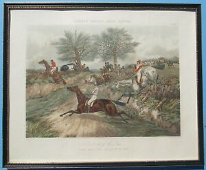 H Alkin/J Harris: Fores Steeple Chase Scene Hand Coloured Antique Aquatint 1848
