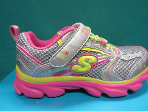 New Skechers Lite Waves SKYBEAM Girl Size 12 Youth Shoes 80617L/SMLT Silver