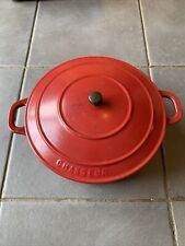 Vintage Chasseur Invicta Cast Iron Red Enamel Casserole Dish 24