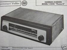 HARMAN KARDON T-1040 THEME II TUNER RECEIVER PHOTOFACT