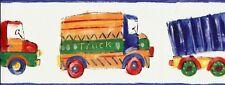 Wallpaper Border Kids Children's  Bright Primary Colors Watercolor Trucks