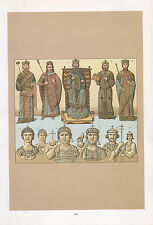 VINTAGE FASHION COSTUME PRINT ~ BYZANTIUM ASIA INFLUENCE EMPEROR JUSTINIAN etc