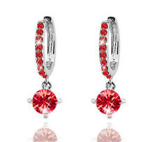 Diamante Crystal Silver with Red Zircons Rhinestone Hoops Drop Earrings E550