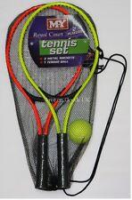 2 Player metal tennis racket bat set & ball. Outdoor sport gift idea
