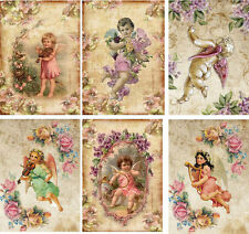 Vintage inspired Angel note cards tags set of 6 with envelopes