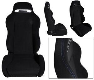 NEW 1 PAIR BLACK CLOTH & BLUE STITCHING ADJUSTABLE RACING SEATS CHEVROLET *