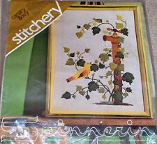 "Spinnerin Yellow ""Canary & Ivy"" Bird & Leaves Crewel Stitchery Kit NIP 12x16"""